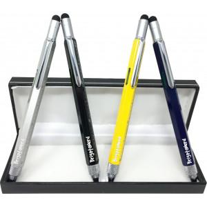 Stylo Multifuzione Cheater 6-en-1 règle en cm et en pouces, le niveau de l'esprit, stylo à bille, stylet tactile, et un Brigata
