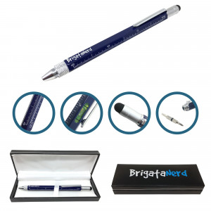 Pen Multifuzione Cheater 6-in-1 ruler cm and inches, the spirit level, ball pen, stylus touch, and screwdriver Brigata Nerd - 1