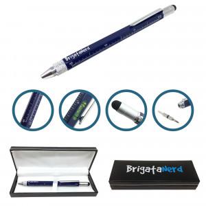 Stift Multifuzione Cheater 6-in-1 mit lineal in zentimeter und zoll, wasserwaage, kugelschreiber, stylus touch und Brigata Nerd