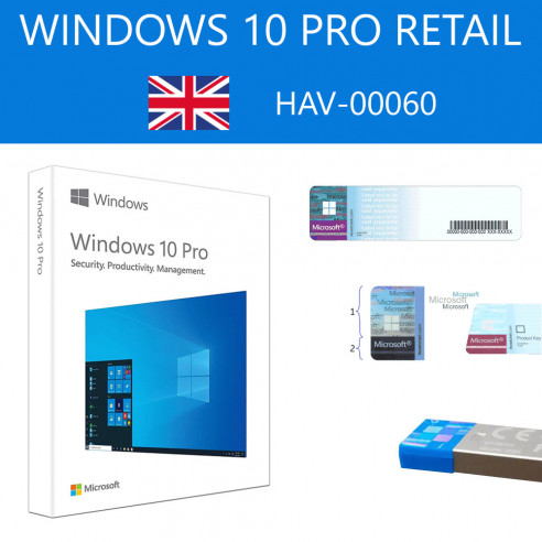 Windows 10 Pro Retail HAV-00060 USB FPP P2 32-64 bits Anglais International May 2020 Update (2004) Microsoft Corporation - 1