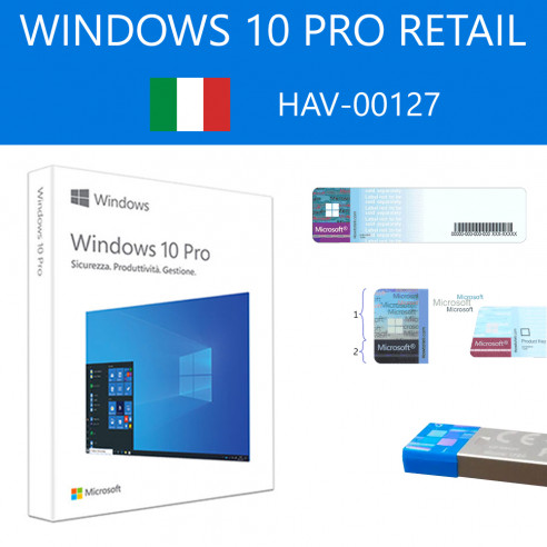 Windows 10 Pro Retail HAV-00127 USB FPP P2 RS 32-64 bit Italien Microsoft Corporation - 1