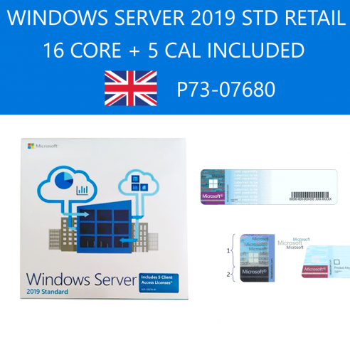 Windows Server Standard 2019 Retail P73-07680 DVD FPP 64bit 16C 5CAL Inglese Internazionale Microsoft Corporation - 1