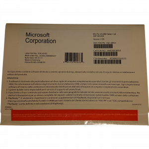 Windows 10 Pro OEM DSP OEI FQC-08929 DVD 64 bit Inglese Internazionale