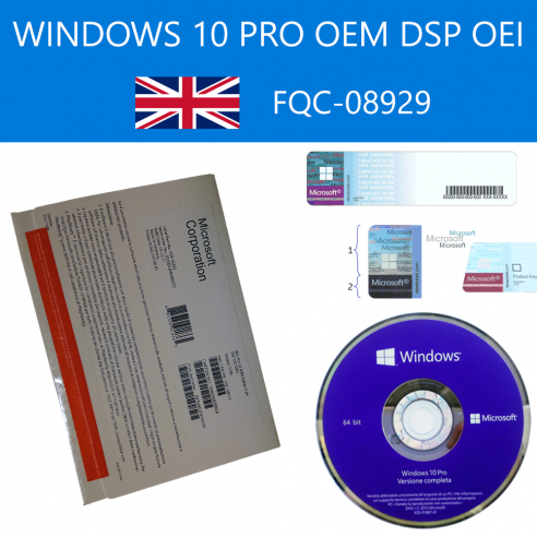 Windows 10 Pro OEM DSP OEI FQC-08929 DVD 64 bit Inglese Internazionale